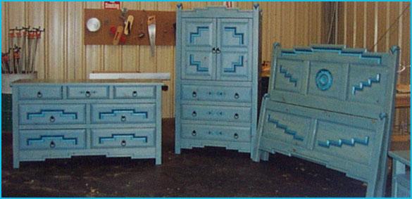 Anasazi Bedroom Set Blue Stain