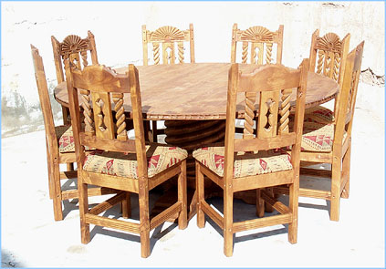 Bear Creek Round Dining Table 8 Chairs. Southwest ...