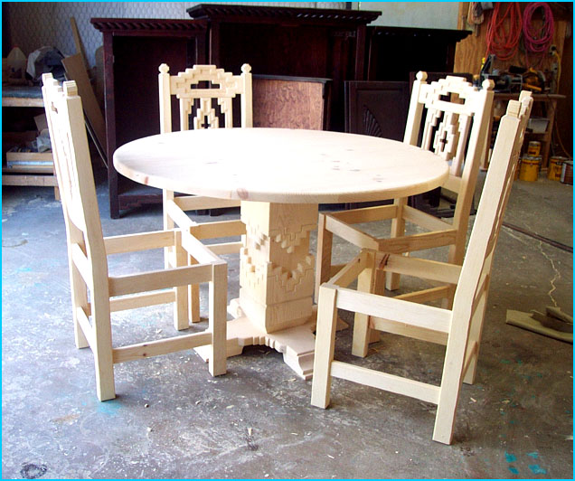 cruz southwest round dining set unfinished