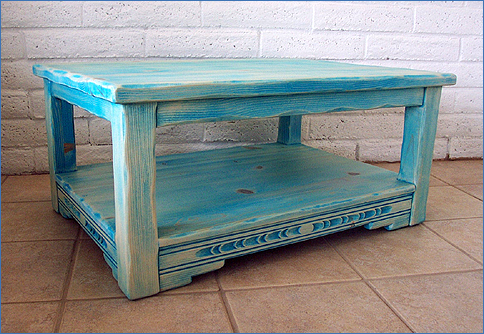 New Mexico Coffee Table With Shelf, Turquoise