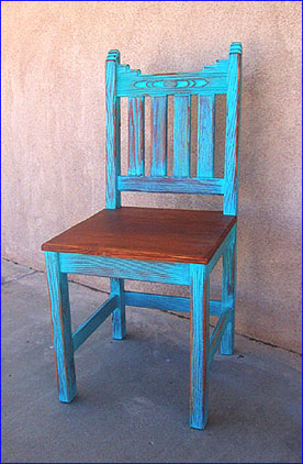 Marvelous ... Unfinished New Mexico Dining Chair, Sandblasted Blue Wash