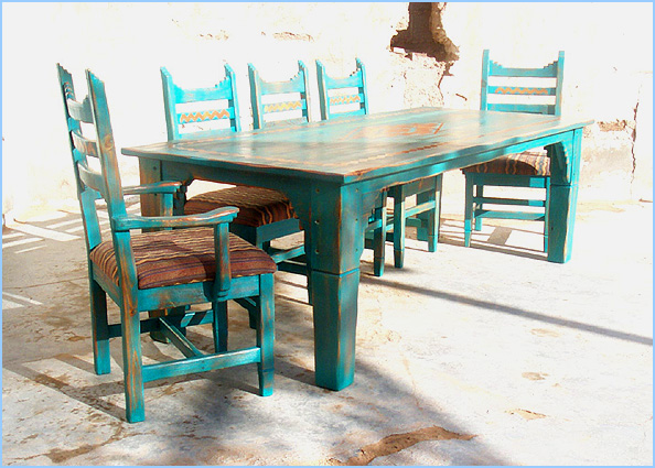 Nice Picos 8 Chair Southwest Dining Set Copper ...