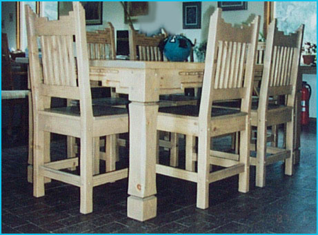 Santa Fe Southwest Style Dining Set Tables Chairs