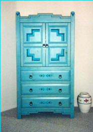 Anasazi TV Cabinet, Exposed Drawers Blue Stain