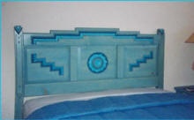 Anasazi Headboard Detail, Blue Stain