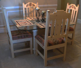 Anasazi Dining Set, Customer's glass table with our chairs