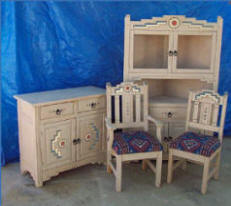 Anasazi 2 Door Buffet, Corner cabinet & Chair