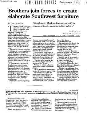Download Southwest Furniture Article in PDF format