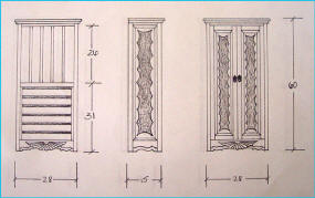 Aurora Special Jewelry Cabinet Scale Drawing
