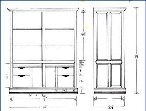 Corrales Computer Armoire Scale Drawing