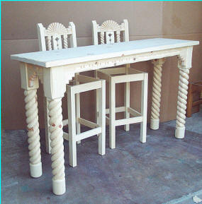 Great Southwest Bar Table and Barstools Rope Carved legs
