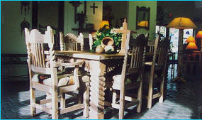 Great Southwest Dining Set With Rosettes, Anastacia Stain, Sandblasted