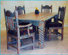 Great Southwest Dining Set, Golden Pecan Grey Rub