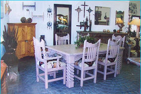 Great Southwest Dining Set With Rosettes Light Adobe Stain
