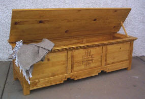 Mission Blanket Chest, Open View, Honey Stain