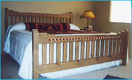 New Mexico King Size Bed Red and White Accent Bullet
