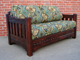 New Mexico Love Seat, Red Mahogany Stain Front