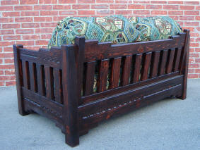 New Mexico Love Seat, Red Mahogany Stain, Back