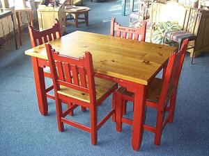 Southwest Dinette Set New Mexico, Golden Oak and Red