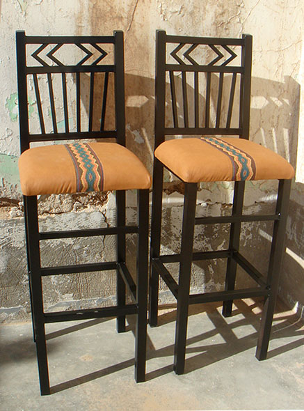 Navajo Iron Bar Stools, Black