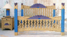 Navajo King Size Bed, Light Desert Sand Stain. Blue-Purple Accent Colors