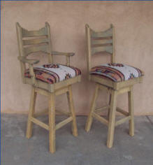 Picos Southwest bar Stools with and without arm rest