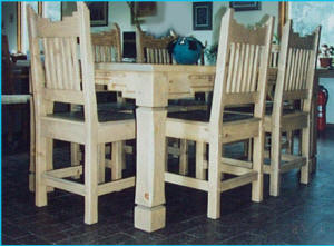 Santa Fe Dining Set Light Stain, Wooden seats