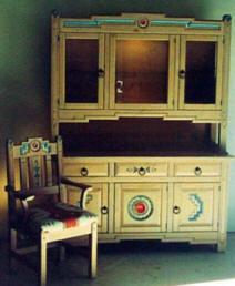 Anasazi China cabinet & Arm Chair, Original Colors