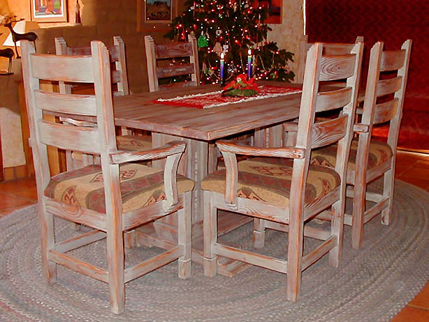 Corrales Dining Set, All Arm Chairs With Rustic Antique Finish
