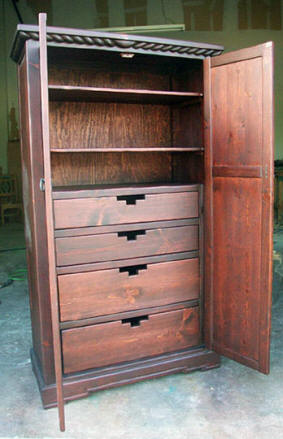Mission Armoire Red Mahogany, Open View