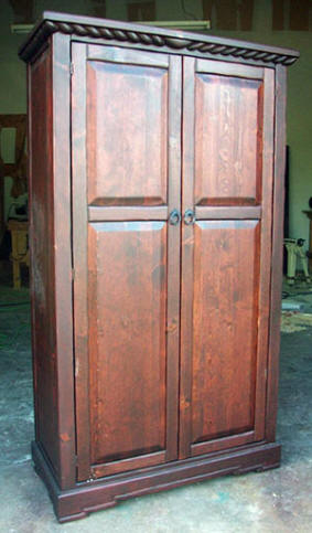 Mission Armoire Red Mahogany Stain