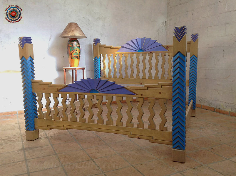 Navajo King Bed Finished With Accent Paint