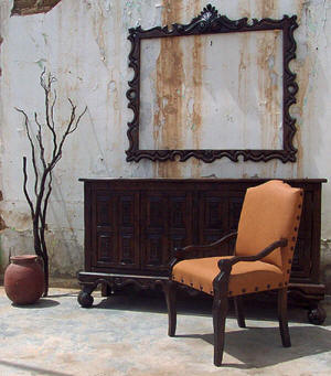 Old World Buffet, Chair & Mirror Frame