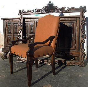 Old World Chair, Mirror Frame & Buffet #2