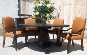 Old World Dining Set 4 Chairs