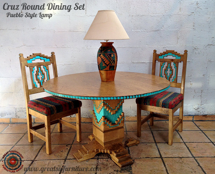 Cruz Southwest Style Round Dining Set Tables Chairs China Cabinets