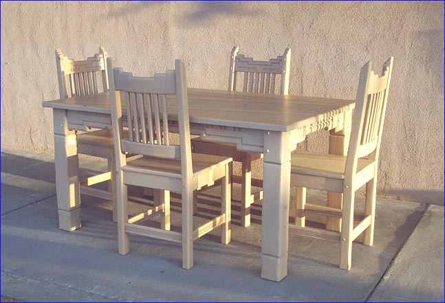 Santa Fe Dining Set 4 Chairs Wooden Seats